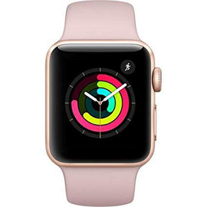 Refurbished Apple Watch (Series 3) Gold Aluminum Case with Pink Sand Sport Band 42mm GPS + Cellular