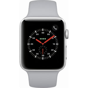 Refurbished Apple Watch (Series 3)- 42mm- Silver Aluminum Case with Fog Sport Band (GPS + Cellular)