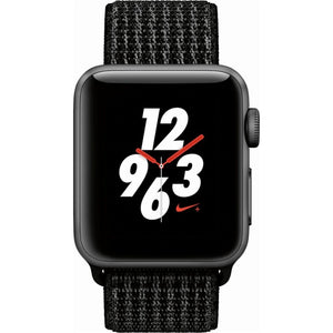 Refurbished Apple Watch (Series 3) Nike+ Space Gray Aluminum Case with Black/Pure Platinum Nike Sport Loop  38mm GPS + Cellular