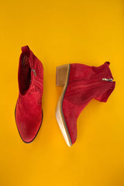 "Mi.iM ""Breach"" Perforated Western Bootie -- Red"