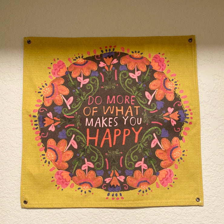 Happy Canvas Wall Hanging