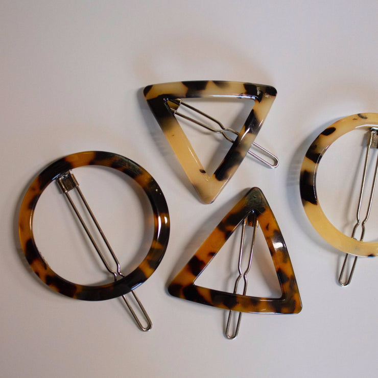 Circle and Triangle Tortoise Shell Hair Clips -2 Piece