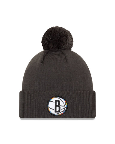 20-21 City Edition Alternate Cuffed Knit Hat w/ Pom - NetsStore.com