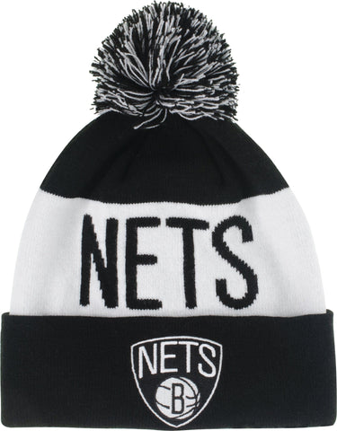 Striped Primary Logo Cuffed Knit Beanie w/ Pom - NetsStore.com