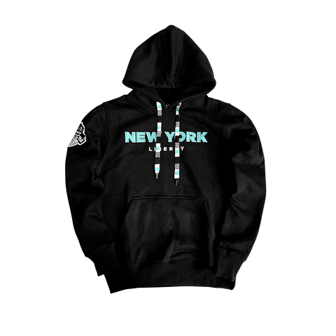 New York Liberty Wordmark Logo Hoodie by KÜR8TED - NetsStore.com