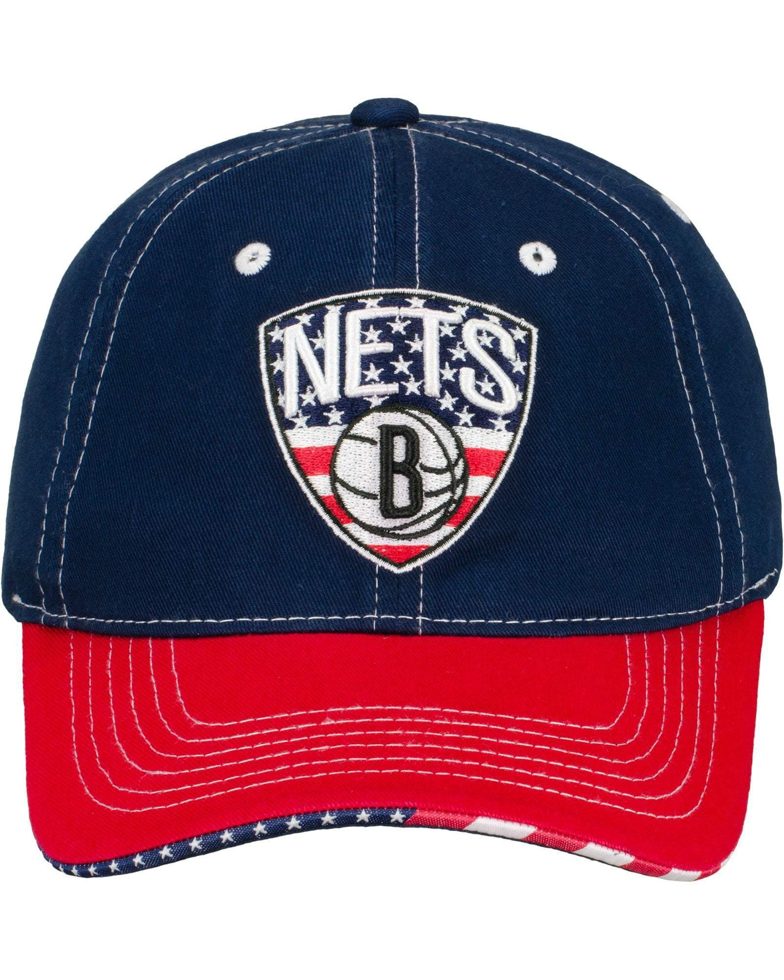 Brooklyn Nets Hats RED / ADJ Brooklyn Nets Item Of The Game Patriotic Logo Primary Logo Hat - Red/White/Blue