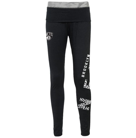 Brooklyn Nets Bottoms BLACK / XS Youth Girls Brooklyn Nets Rollover Leggings - Black