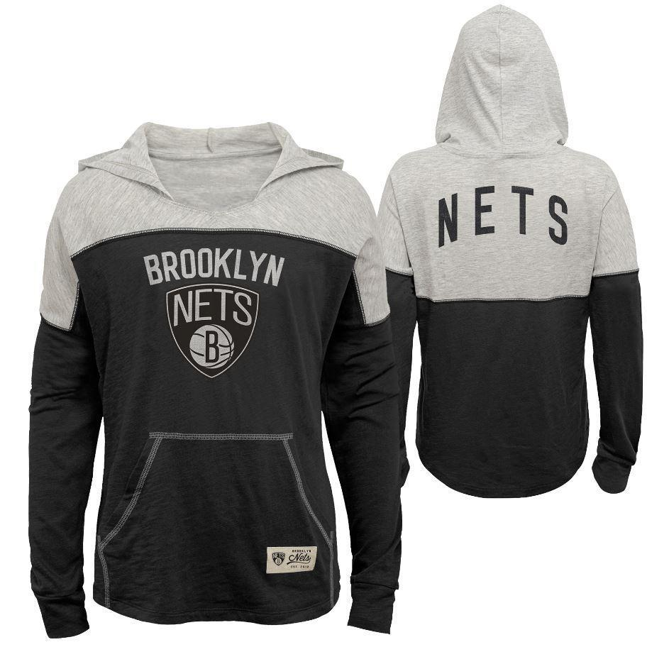 Brooklyn Nets Sweatshirts BLACK / S Youth Girls Brooklyn Nets Two Tone Slouch Hoodie - Black/Grey