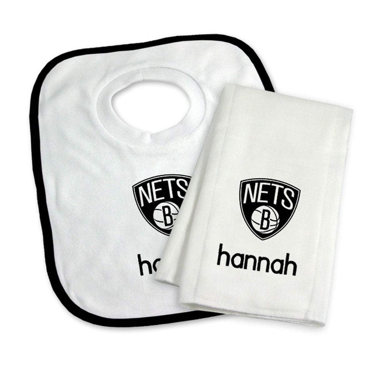 Chad & Jake Accessories Brooklyn Nets Personalized Bib and Burp Cloth Set by Chad & Jake