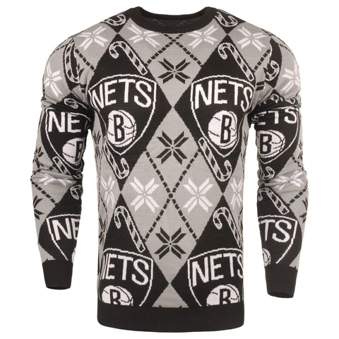 Forever Collectibles Outerwear BLACK / M Brooklyn Nets Forever Collectibles Candy Cane Holiday Sweater - Black/Grey
