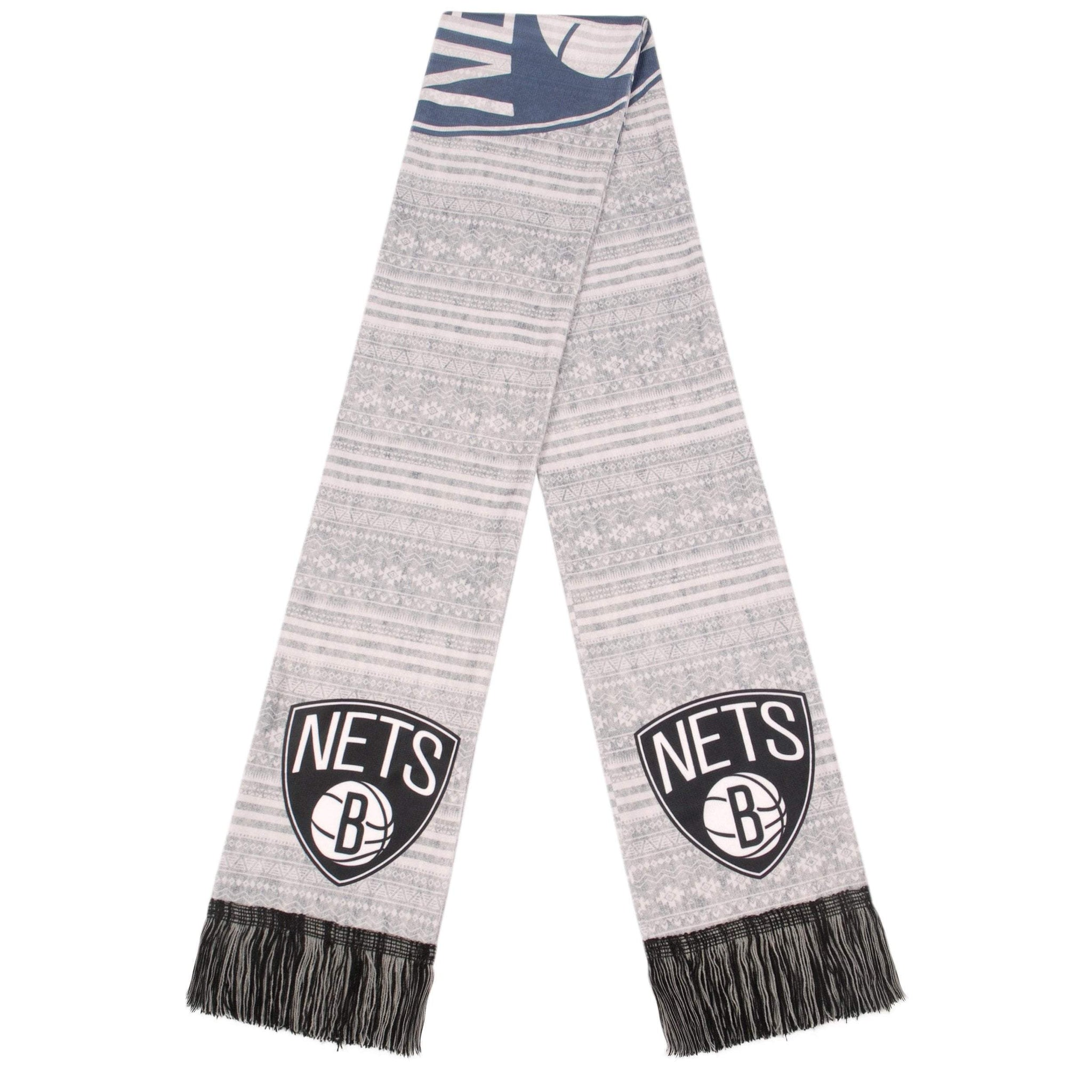 Forever Collectibles Accessories BLACK / OSFA Brooklyn Nets Forever Collectibles Primary Logo Aztec Print Scarf - Grey/Black/White