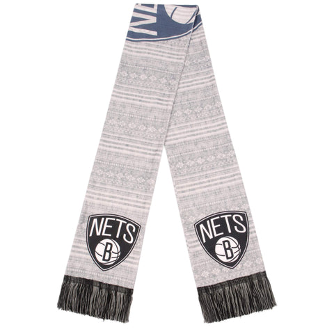 Brooklyn Nets Forever Collectibles Primary Logo Aztec Print Scarf - Grey/Black/White - NetsStore.com