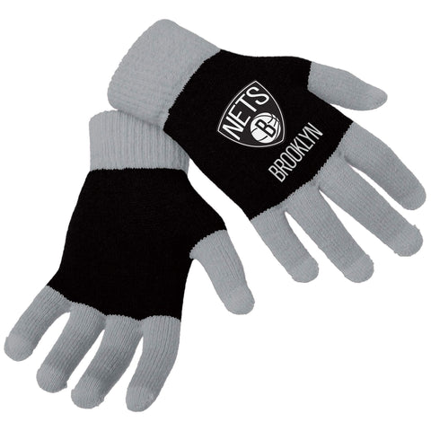 Forever Collectibles Accessories BLACK / OSFA Brooklyn Nets Winter Texting Gloves - Black/Grey