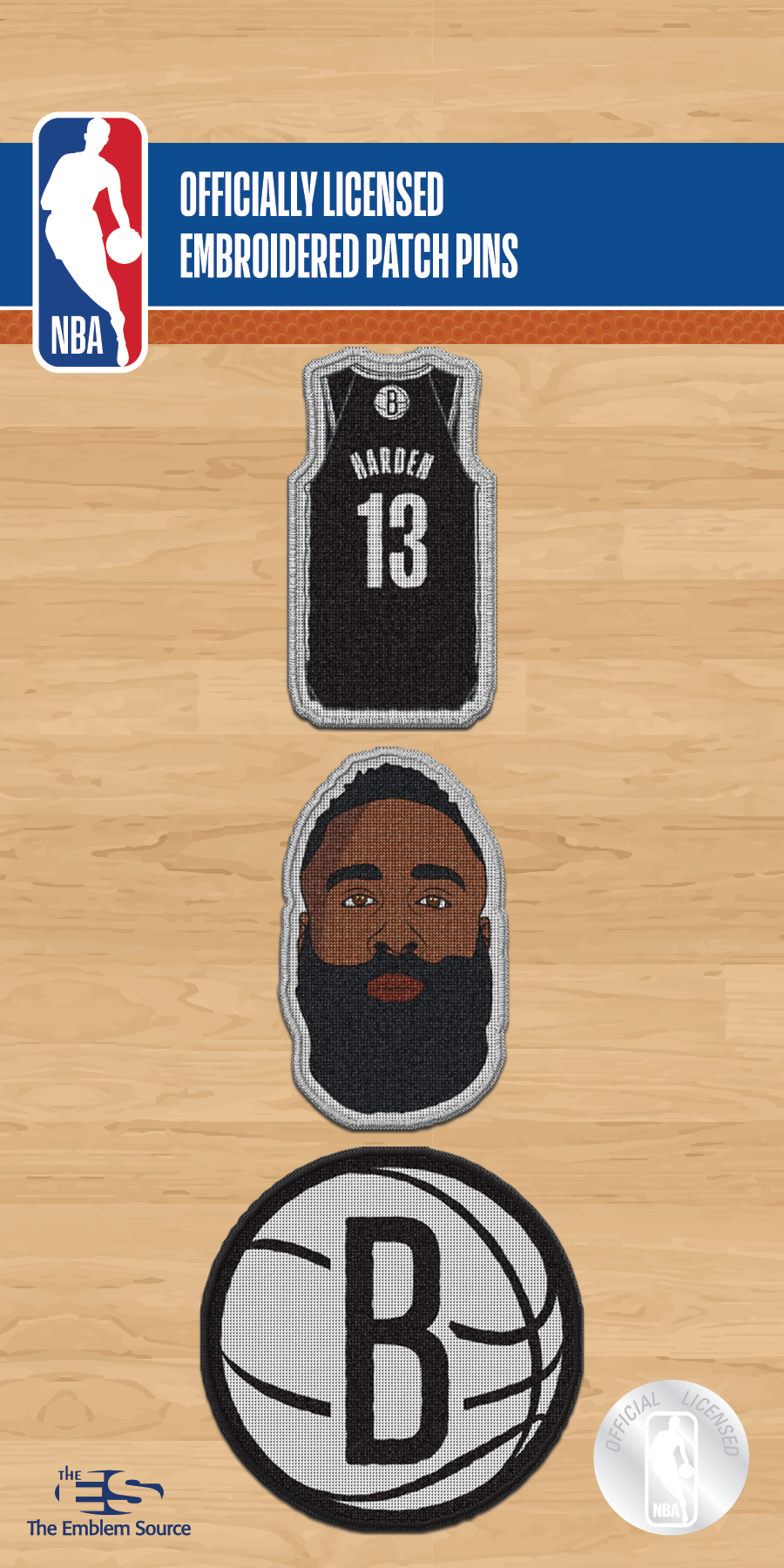 Preorder: James Harden 3 Pack Patch Pin Set - NetsStore.com