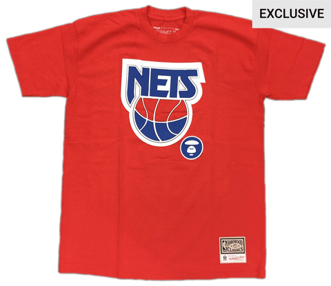 Brooklyn Nets AAPE by A Bathing Ape x Mitchell and Ness Tee - Red - NetsStore.com