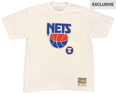 Brooklyn Nets AAPE by A Bathing Ape x Mitchell and Ness Tee - White - NetsStore.com