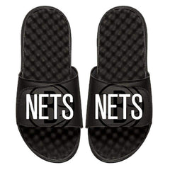 ISlide Footwear Size-3 Brooklyn Nets ISlide Alternate Logo Wordmark Slides - Black