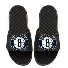 ISlide Footwear Size-3 Brooklyn Nets ISlide Secondary Oversized Logo Slides - Black