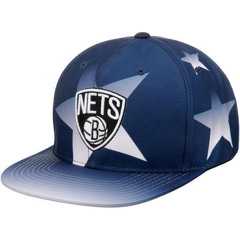 Mitchell & Ness Hats BLACK / ADJ Brooklyn Nets Mitchell & Ness Primary Logo Stars Snapback Cap - Blue White