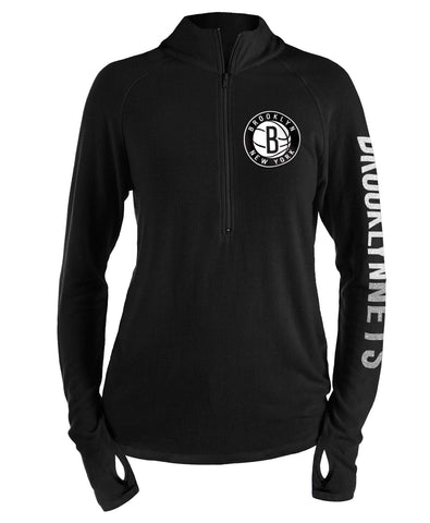 Brooklyn Nets New Era Full Sleeve Wordmark 1/4 Zip Pullover - Black - NetsStore.com