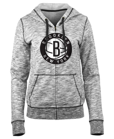 New Era Sweatshirts Small Brooklyn Nets Women's New Era Full Zip Space Dye Hoodie - Grey