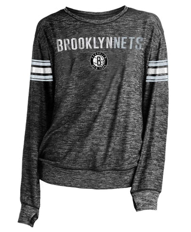 Women's Striped Sleeve Primary Logo Relaxed Fit Long Sleeve - NetsStore.com
