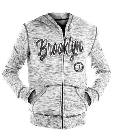 Brooklyn Nets Youth Girls New Era Full Zip Space Dye Script Logo Hoodie - Grey - NetsStore.com