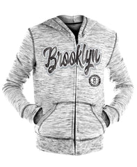 New Era Sweatshirts GREY / S Brooklyn Nets Youth Girls New Era Full Zip Space Dye Script Logo Hoodie - Grey