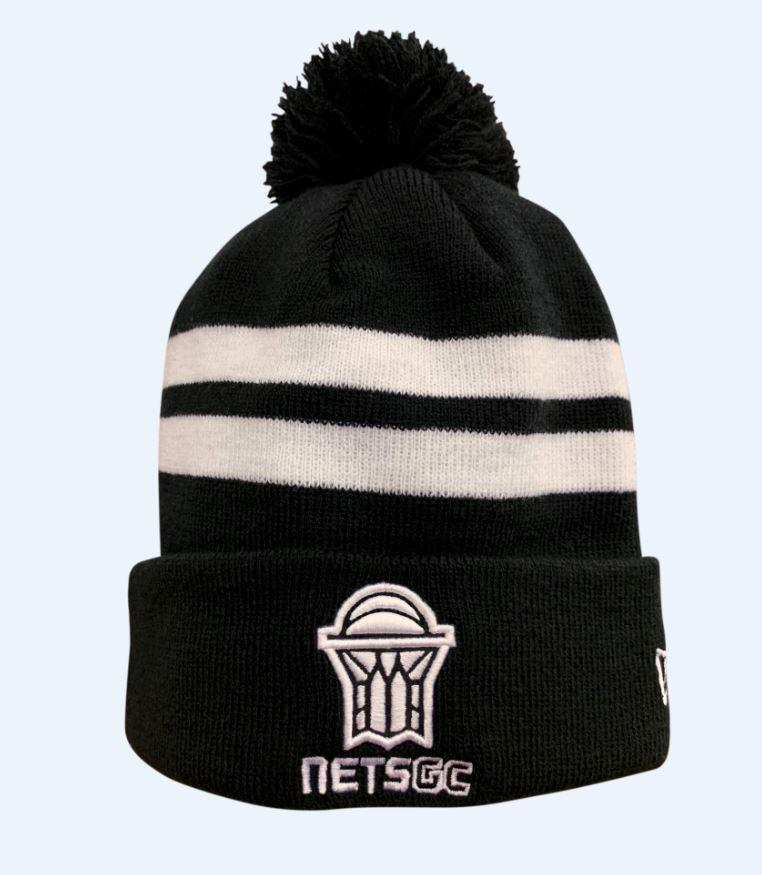 83fae2d70cf Nets GC Primary Logo Striped Knit Hat - Black White – Brooklyn Nets
