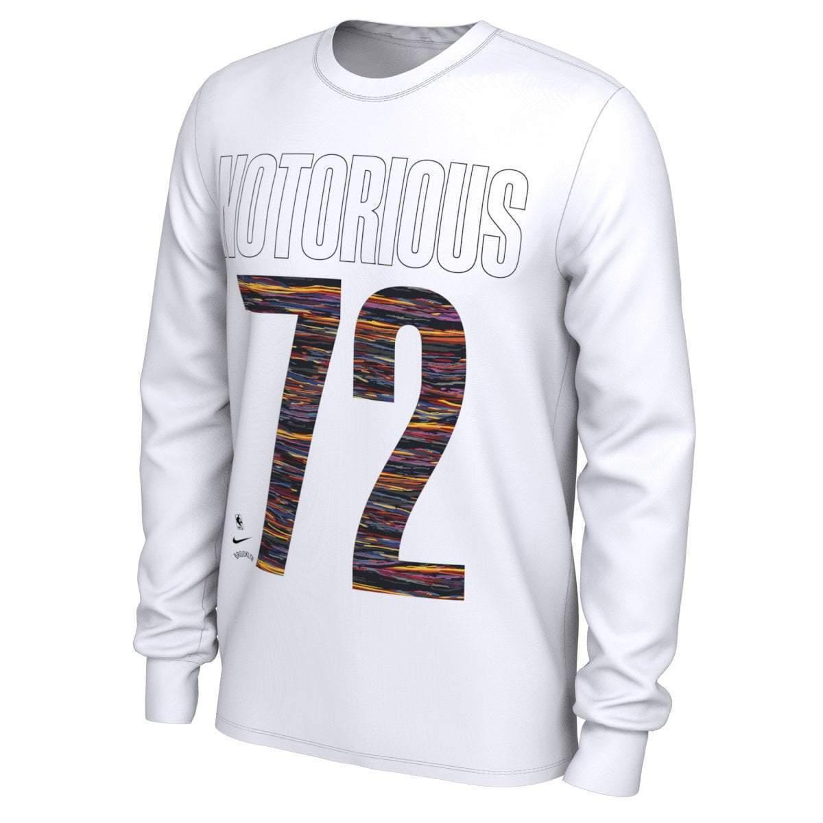 Brooklyn Nets Nike Music Collection Notorious #72 Graphic Long Sleeve Tee - White - NetsStore.com