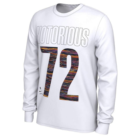 Nike Long Sleeve Tees WHT / S Brooklyn Nets Nike Music Collection Notorious #72 Graphic Long Sleeve Tee - White
