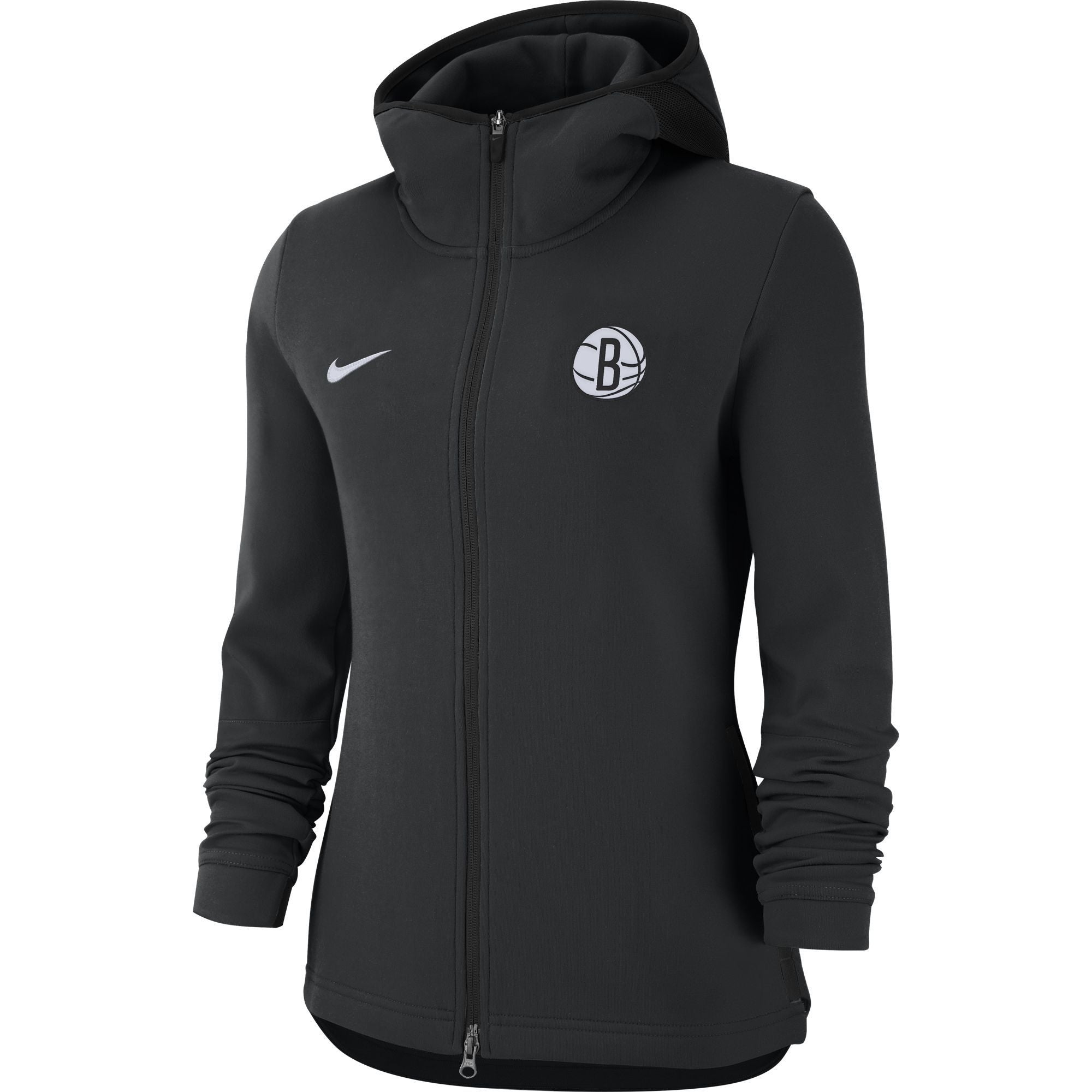 Nike Sweatshirts BLK / XS Brooklyn Nets Women'S Nike On Court Full Zip Showtime Hoodie - Black