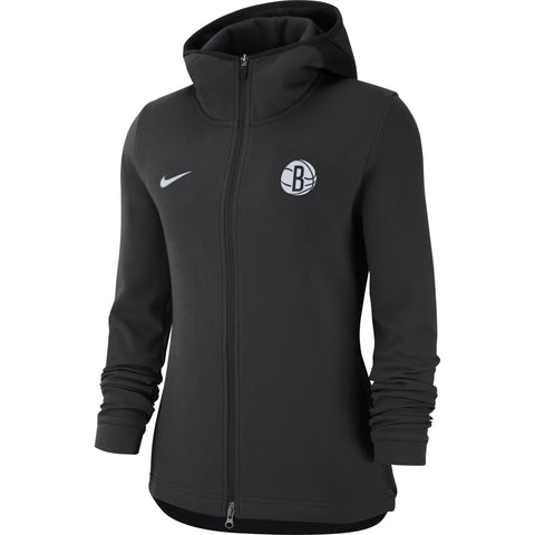 Brooklyn Nets Womens Nike On Court Full Zip Showtime Hoodie - Black - NetsStore.com