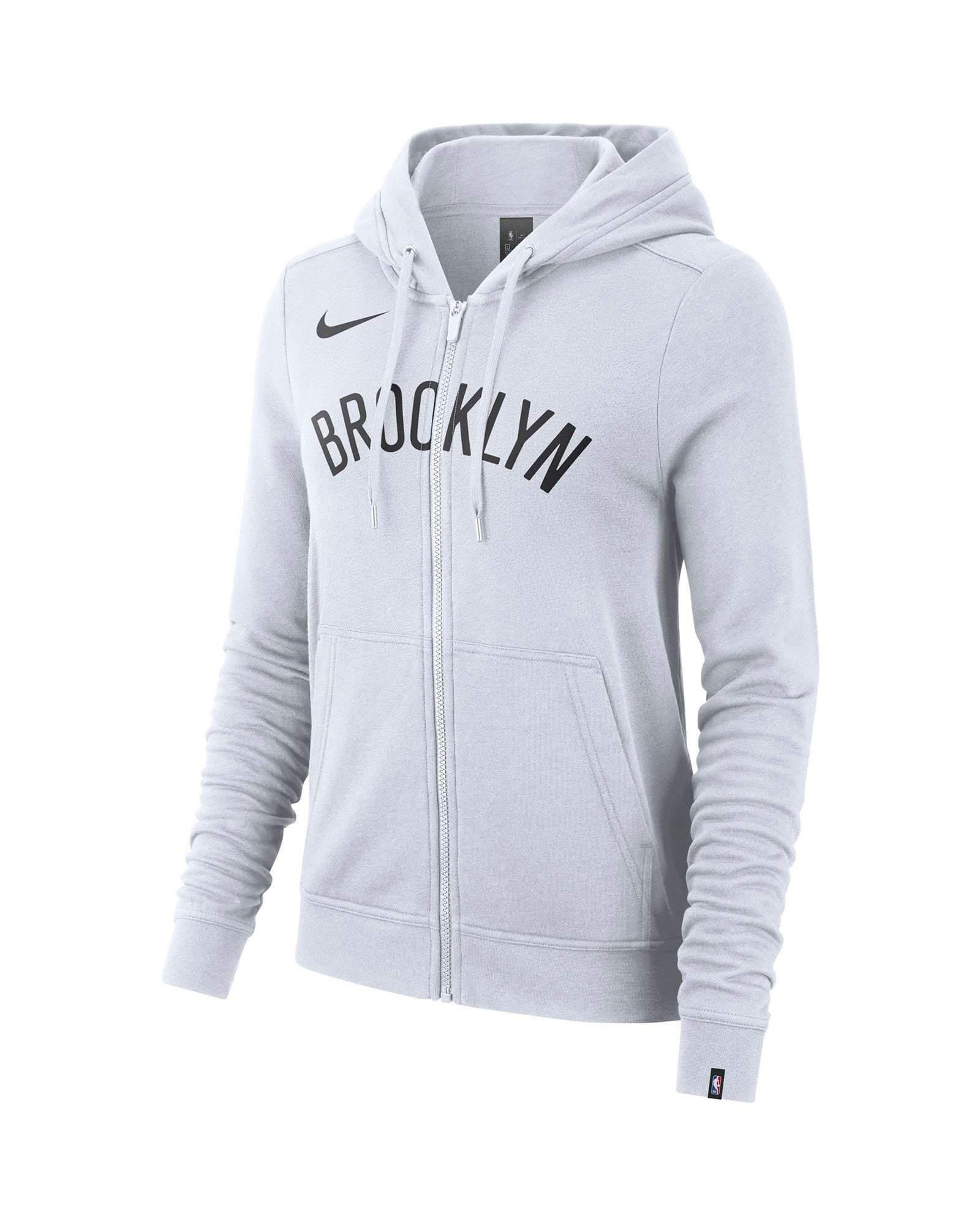 2758817960e0 Brooklyn Nets Women S Nike Wordmark Logo Full Zip Hoodie - White