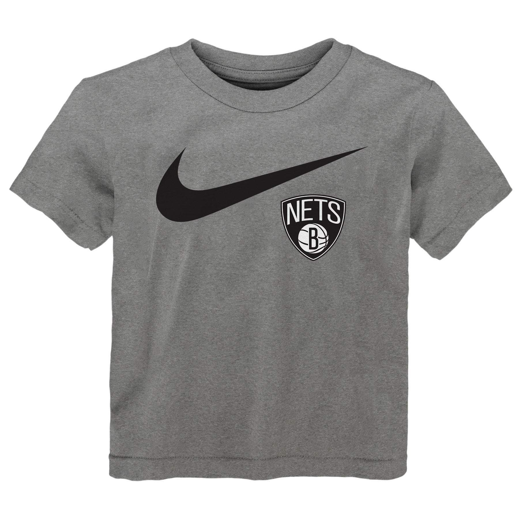 Nike Tees GREY / 4 Juvenile Brooklyn Nets Nike Primary Logo Swoosh Tee - Grey