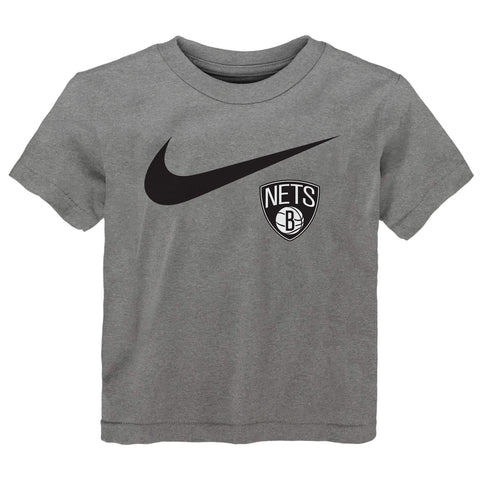 Toddler Brooklyn Nets Nike Primary Logo Swoosh Tee - Grey - NetsStore.com