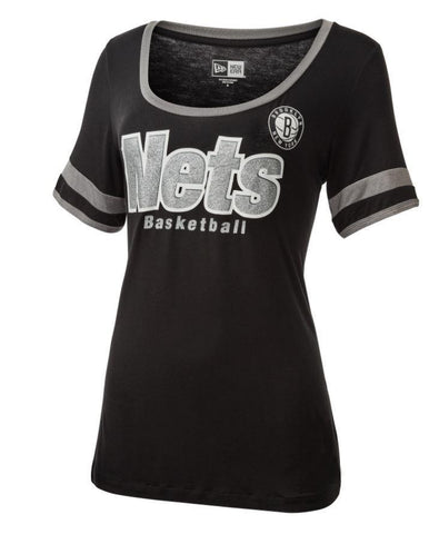 Brooklyn Nets Women's New Era Scoop Neck Ringer Tee - NetsStore.com