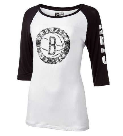 Brooklyn Nets Women's New Era Distressed Primary Logo Long Sleeve Tee - NetsStore.com
