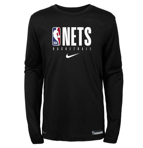 Brooklyn Nets Nike Youth Practice Logo Long Sleeve Tee - NetsStore.com