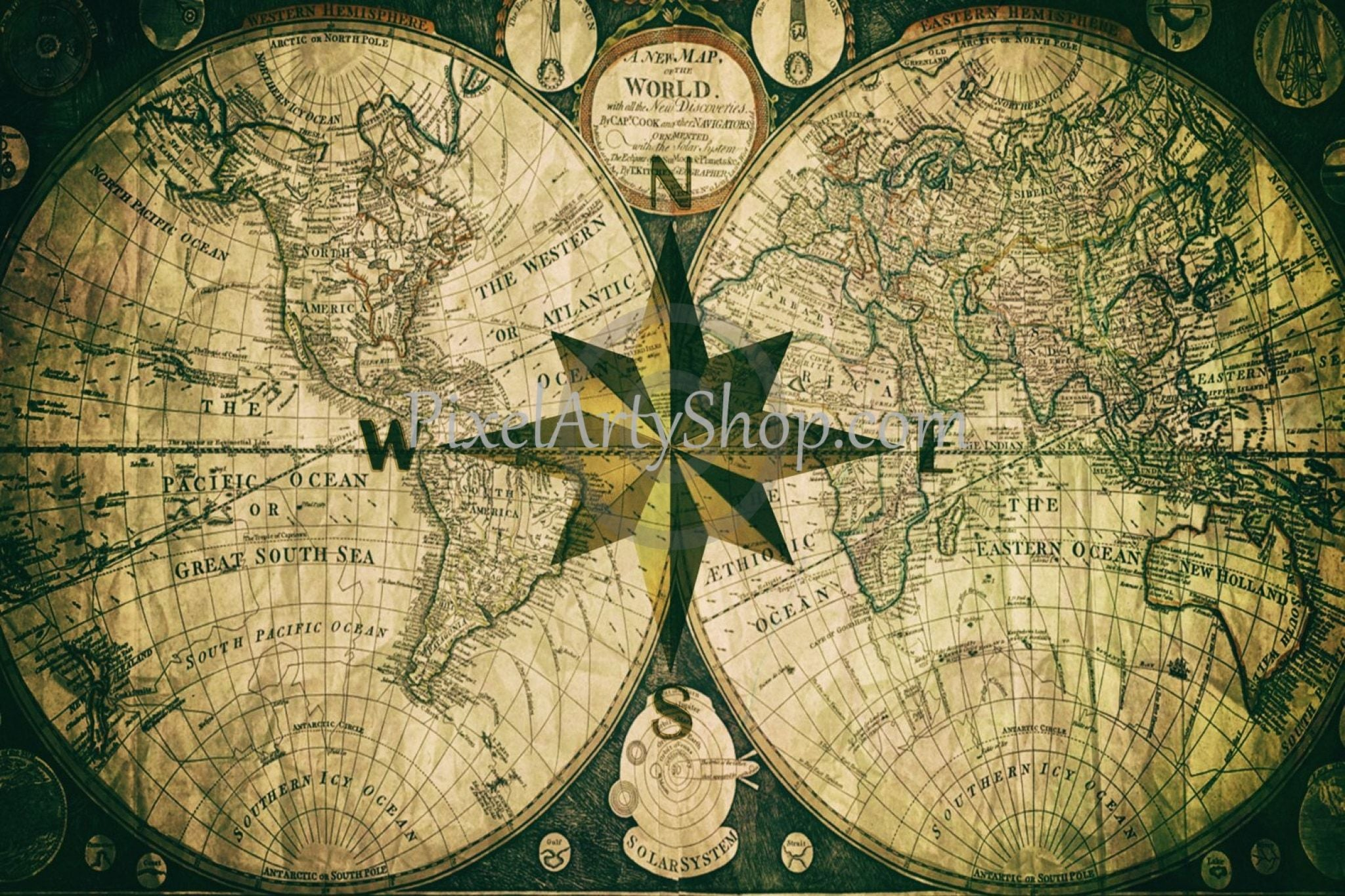 The Compass Rose And An Old Map