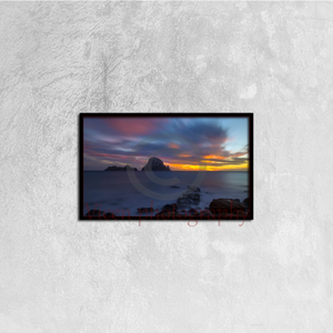 Es vedra at sunset from Cala d'hort in Ibiza - Canvas framed