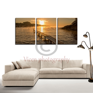 Sunrise On The Beach Of S´estanyol In Ibiza - 3 Panels Canvas Framed(Ready To Hang) / Medium Wall
