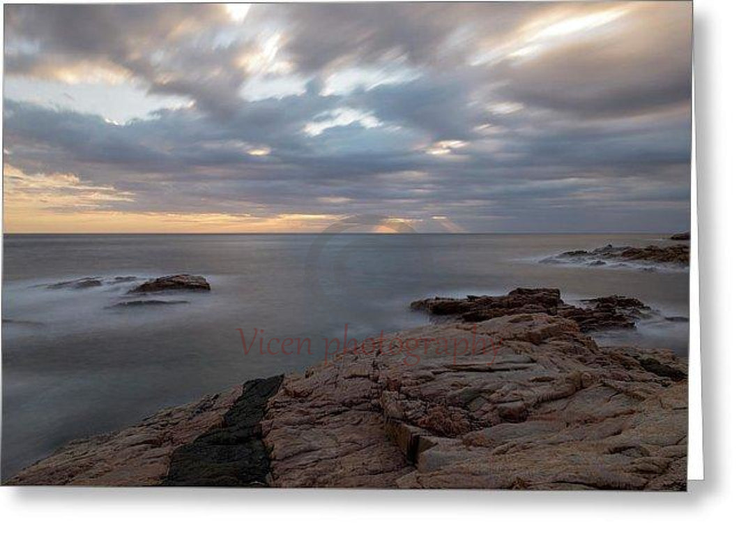 Sunrise On The Coast Of Begur In Long Exposure - Greeting Card