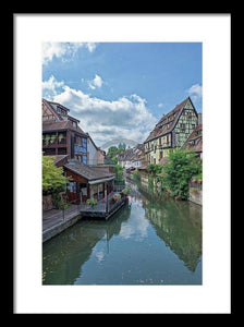 The Village Of Colmar In France - Framed Print 10.625 X 16.000 / Black White