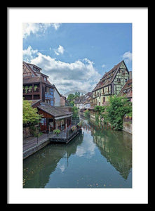 The Village Of Colmar In France - Framed Print 13.375 X 20.000 / Black White