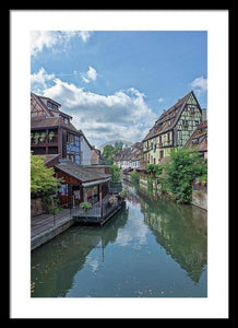 The Village Of Colmar In France - Framed Print 16.000 X 24.000 / Black White