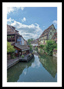 The Village Of Colmar In France - Framed Print 20.000 X 30.000 / Black White
