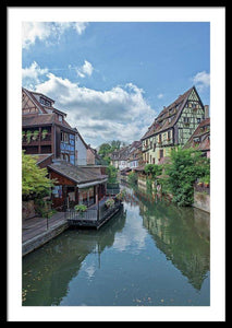 The Village Of Colmar In France - Framed Print 24.000 X 36.000 / Black White