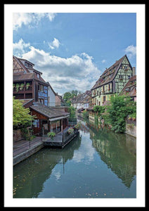 The Village Of Colmar In France - Framed Print 26.750 X 40.000 / Black White