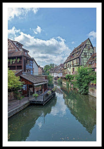 The Village Of Colmar In France - Framed Print 32.000 X 48.000 / Black White